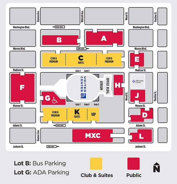 Free Parking Chicago Map.Directions Parking United Center